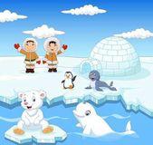 Arctics animals collection set with igloo ice house