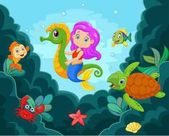 Cartoon little mermaid playing with seahorse