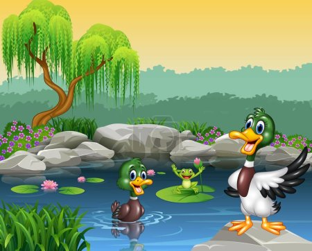 Illustration for Vector illustration of Cute ducks swimming on the pond and frog - Royalty Free Image
