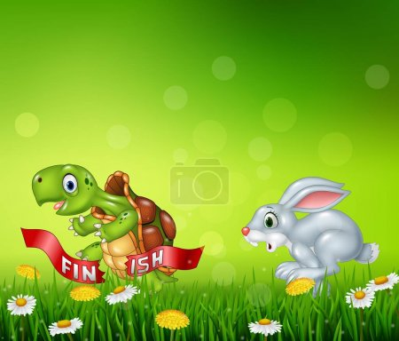 Cartoon a turtle win the race against a bunny