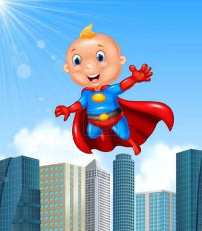 Illustration for Vector illustration of Cartoon superhero boy with skyscraper background - Royalty Free Image