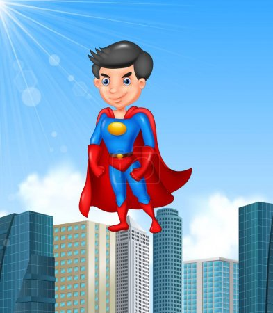 Illustration for Vector illustration of Cartoon superhero with skyscraper background - Royalty Free Image
