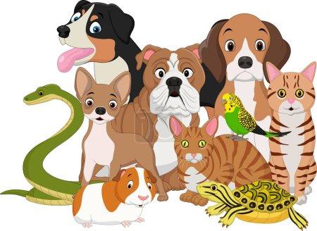 Illustration pour Illustration vectorielle du dessin animé Groupe d'animaux domestiques - image libre de droit