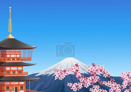 Chureito Pagoda and mount Fuji with sakura blossom