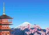 "Постер, картина, фотообои ""Пагода Chureito и гора Фудзи с цветения сакуры"""