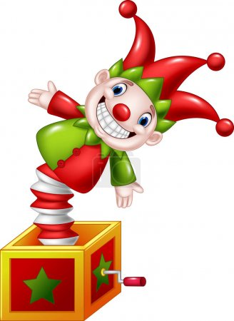 Illustration for Vector illustration of Cartoon Amusing toy jumping out from a box - Royalty Free Image