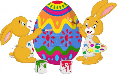 Illustration for Vector illustration of Cartoon rabbit painting an Easter egg - Royalty Free Image