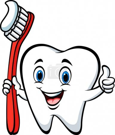 Cartoon tooth holding a tooth brush giving thumb up