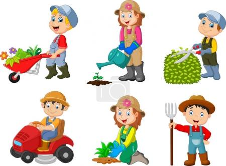 Vector illustration of Collection of gardening kid...
