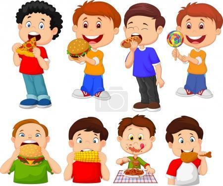 Illustration pour Illustration vectorielle de Collection de dessin animé petit garçon mangeant de la restauration rapide - image libre de droit