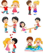 Collection of cartoon kids couple