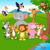 Vector illustration of Cartoon wild animal in the jungle