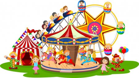 Illustration pour Illustration du parc d'attractions carton - image libre de droit