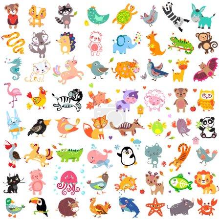 Photo pour Illustration vectorielle d'animaux et d'oiseaux mignons : toucan, rhinocéros, dinde, loup, pélican, renard, hérisson, baleine, licorne, taureau, cheval de mer, lion, pingouin, raton laveur, chat, panthère, cerf, méduses, crocodile, canard, panda, hibou , - image libre de droit