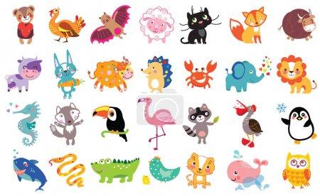 Photo pour Illustration vectorielle d'animaux et d'oiseaux mignons : ours, dinde, chauve-souris, moutons, panthère, renard, taureau, vache, lièvre, yak, hérisson, toucan, flamant rose, requin, hibou, pélican, crabe, lion, cheval de mer, loup, raton laveur, pingouin, baleine, boa - image libre de droit