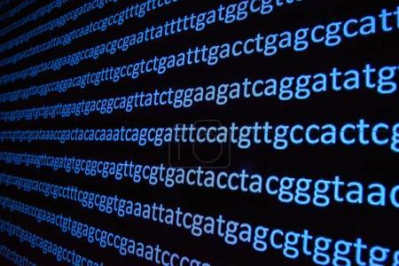 Photo pour Séquençage du génome. Le déchiffrage du code ADN, écrire la séquence des bases nucléotidiques. - image libre de droit