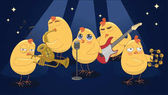 Young chickens play musical instruments on a blue background ve