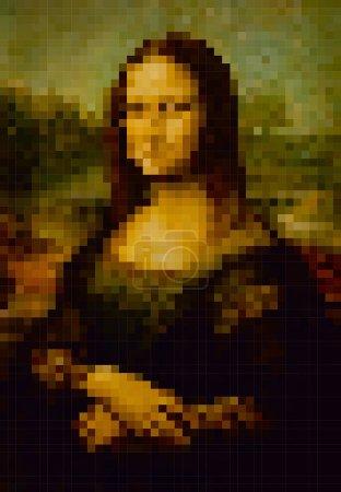 Pixel stylization of the painting by Leonardo da Vinci Mona Lisa. Vector graphics
