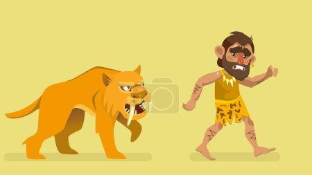 Illustration for Saber-toothed tiger chasing primitive man. vector illustration - Royalty Free Image