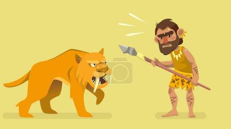 Illustration for Situation meeting primitive hunter and saber-toothed tiger. illustration for kids book. vector - Royalty Free Image