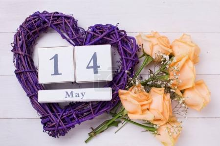 roses flowers, violet heart  and calendar