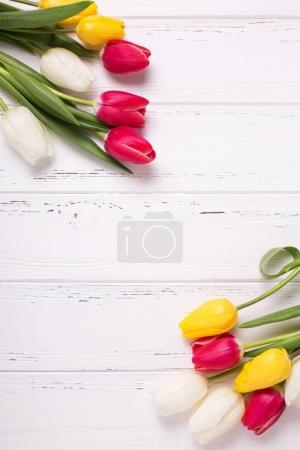 Frame from yellow, pink  and white tulips