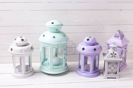 Decorative lanterns on white