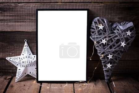 Empty  frame, decorative heart  and   star