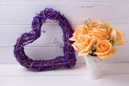 Decorative violet heart and  roses