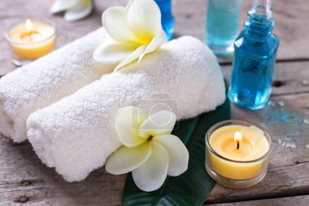 Spa settting on wooden background