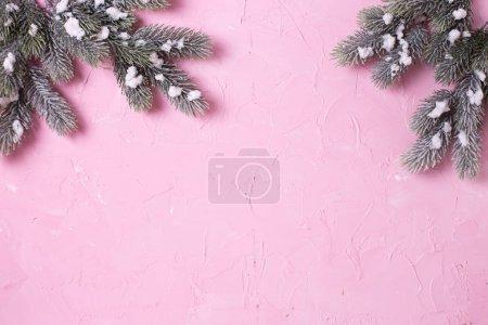 Photo pour Cadre de branches arbre à fourrure sur fond rose. Vue de dessus. Place pour le texte . - image libre de droit