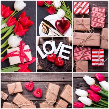 Collage from St. Valentine day photos. Decorative red little candles  hearts, in nest, bright  spring  tulips flowers,  word love  on textured background. Wedding or Valentine day
