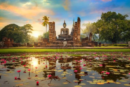Sukhothai, Thailand - January 18 2017: Wat Mahathat Temple in th
