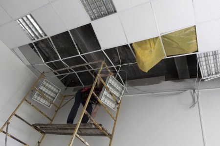 destroyed suspended ceiling
