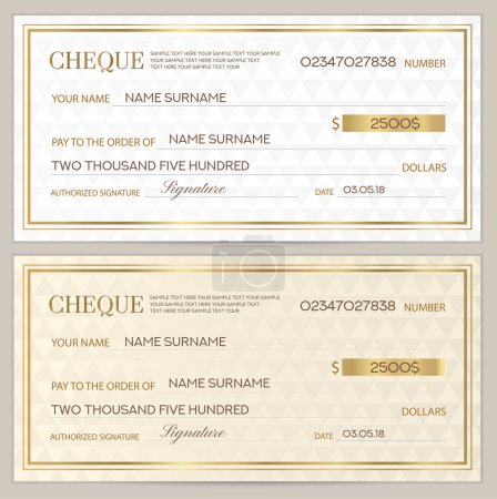Illustration pour Chèque (chèque), modèle Chequebook. Modèle abstrait avec filigrane en or. Fond blanc pour billets, conception monétaire, monnaie, billet de banque, bon d'achat, chèque-cadeau, coupon, billet - image libre de droit