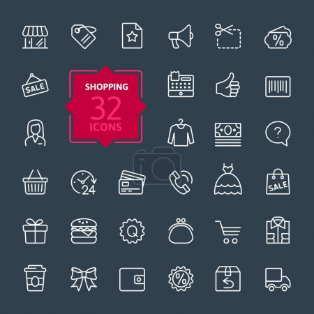 Illustration pour Centres commerciaux, vente au détail - aperçu de la collection d'icônes Web, vecteur, collection d'icônes de ligne mince - image libre de droit