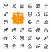 Fastfood - outline web icon set vector thin line icons collection