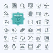Security - outline web icon set vector thin line icons collection