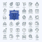 Logistics delivery transportation - outline web icon set vector thin line icons collection