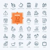 Sauna - outline web icon set vector thin line icons collection