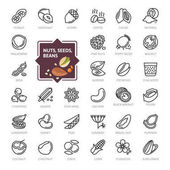 Nuts seeds and beans elements - minimal thin line web icon set Outline icons collection Simple vector illustration