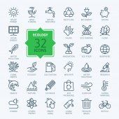 Ecology minimal thin line web icon set Outline icons collection Simple vector illustration