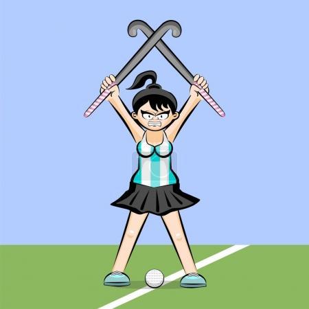 Illustration pour Joueuse de hockey sur gazon style dessin animé. Illustration conceptuelle . - image libre de droit