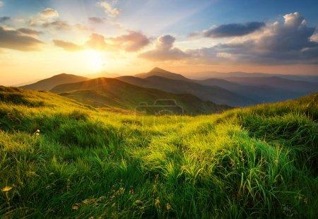 Photo pour Vallée de montagne au lever du soleil. Paysage naturel d'été - image libre de droit