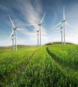 """Постер, картина, фотообои """"Ветровая электростанция на поле"""""""