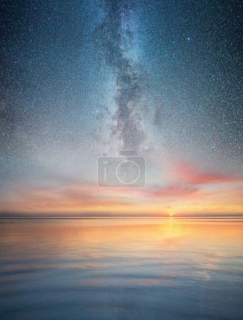 Seascape and night sky. Beautiful natural summer seascape