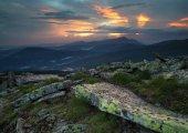 """Постер, картина, фотообои """"Панорама горы во время заката. Красивый естественный панорамный пейзаж в летнее время"""""""