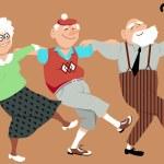 Three happy seniors dancing sirtaki or Zorba dance...