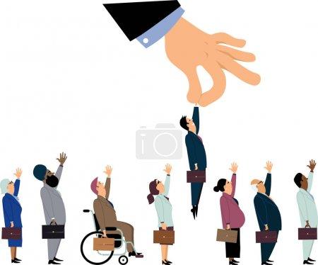 Illustration pour Main de direction géante ramassant un homme blanc d'une lignée de candidats à un emploi diversifié, illustration vectorielle EPS 8 - image libre de droit