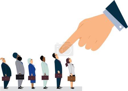 Illustration pour Main de direction géante pointant vers un homme, debout dans une ligne d'employés, illustration vectorielle EPS 8 - image libre de droit
